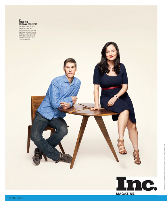 photo in Inc Magazine of Tim Jahn and Stella Fayman. Make up: Traci Fine of Fine Makeup Art & Associates
