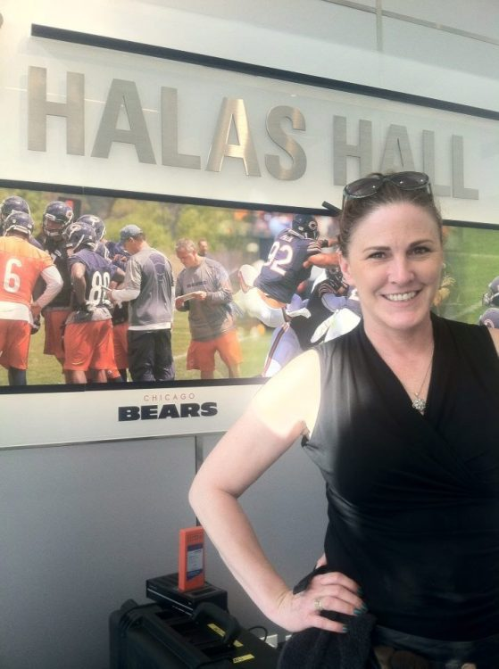 Traci Fine at Halas Hall, home of the Chicago Bears.