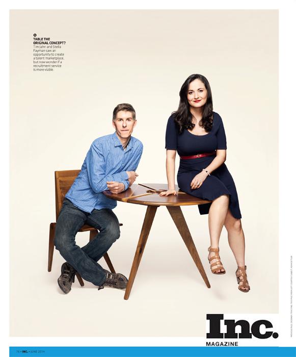 photo in Inc Magazine of Tim Jahn and Stella Fayman. Make up: Traci Fine of Fine Makeup Art & Associates
