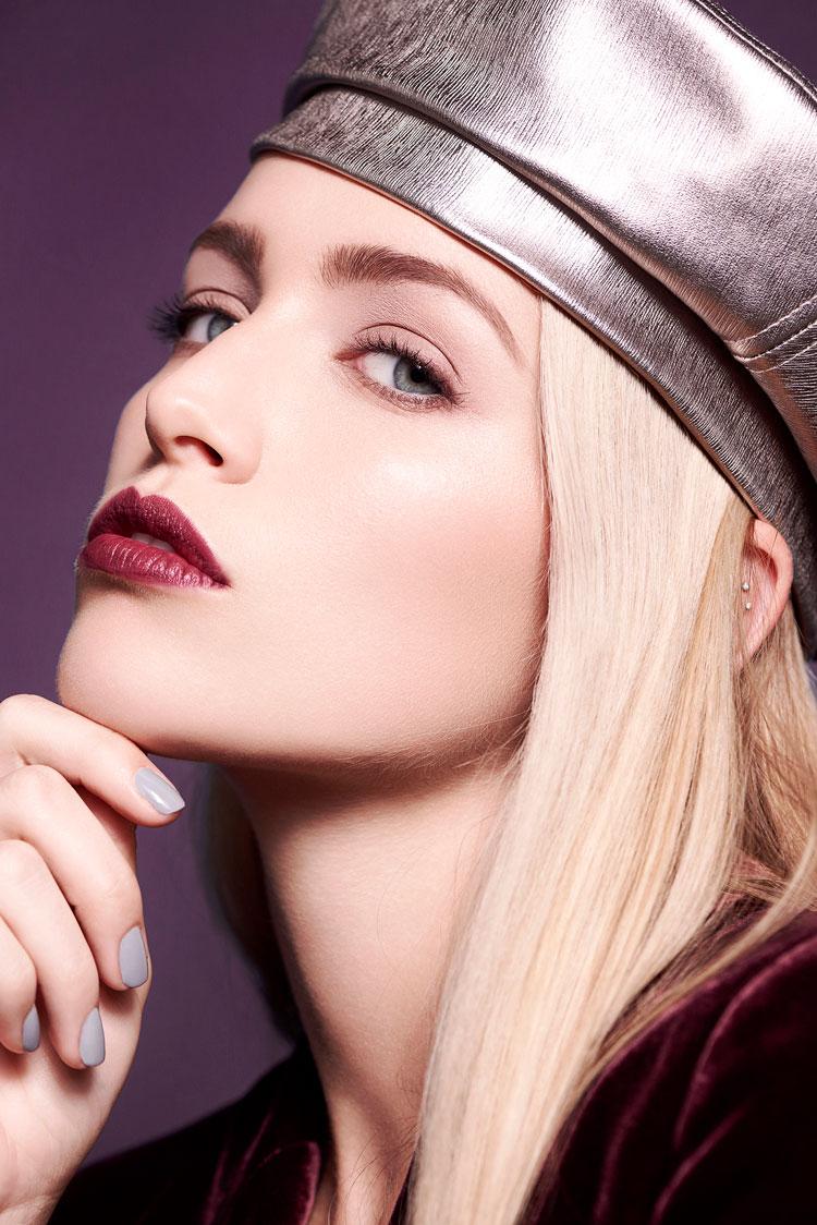 berry lipstick and metallic eye shadow