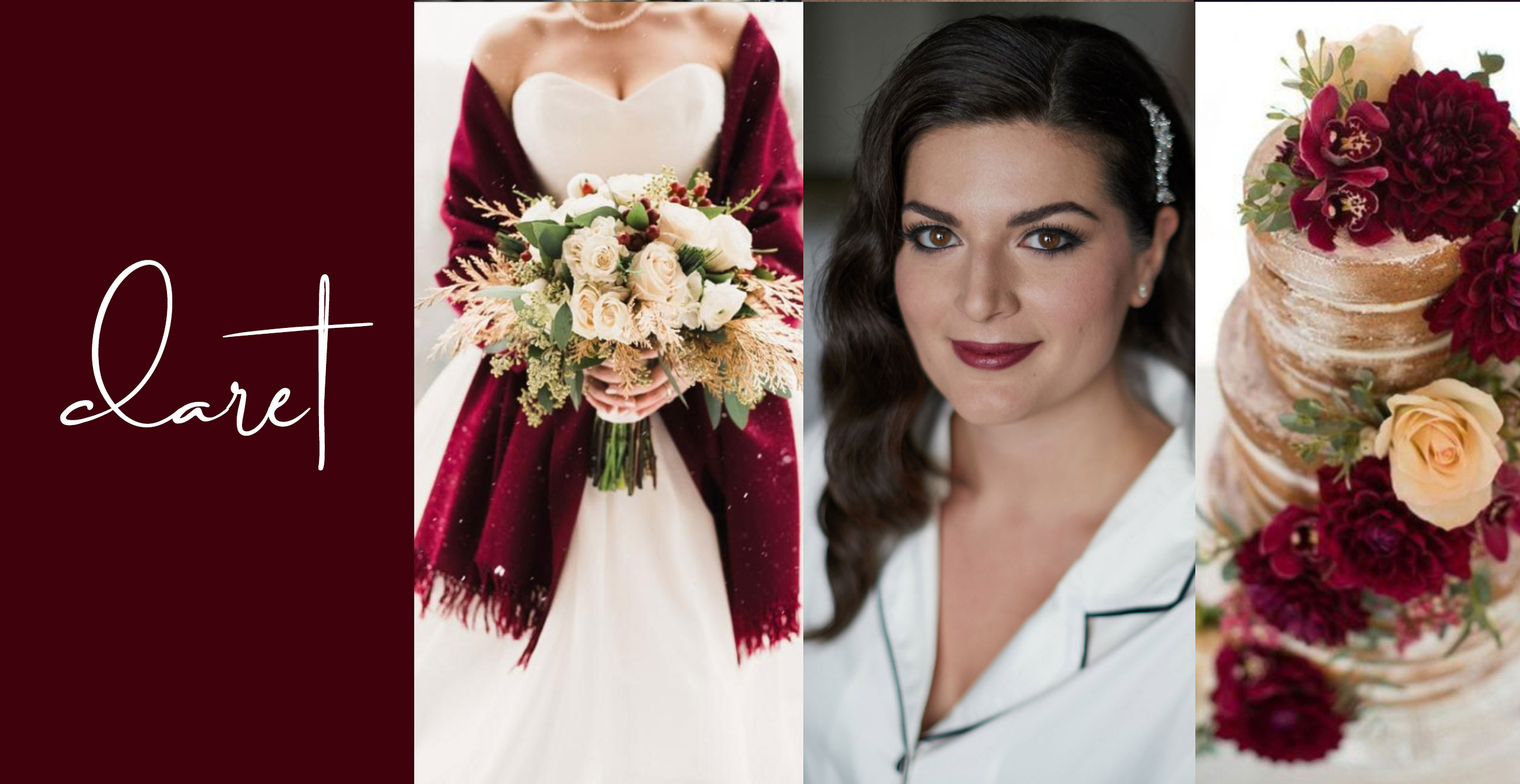 Berry lip color on a Bride with burgundy and gold wedding accents